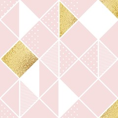 Seamless pattern with pink, white and golden rhombus. Abstract vector illustration © ira_qiwi