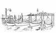 San Giorgio Maggiore church and Lido island sketch