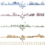 abstract vector set of London, Paris, Berlin and Rome city skylines in bright color palettes
