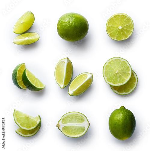 Fresh lime isolated on white background - 178439139