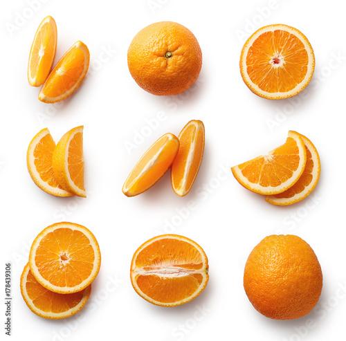 Foto Murales Fresh orange isolated on white background