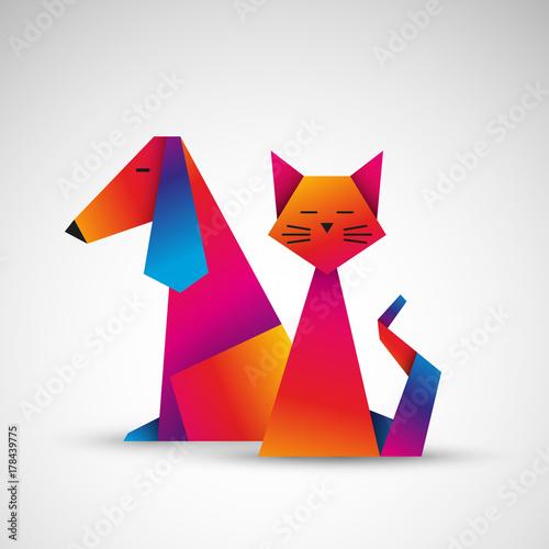 Poster pies i kot origami wektor