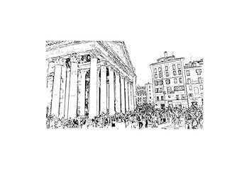 Hand drawn sketch of Pantheon Rome, Italy in vector illustration.