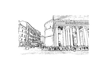 Hand drawn sketch of street view Pantheon, Rome, Italy in vector illustration.