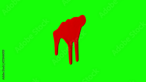 Red Ink Dripping Over Green Screen Background - 178444919