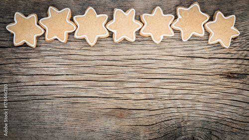 Christmas cookies on wooden background - 178446780