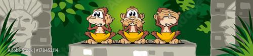 Poster 3 Affen, nicht hören, sehen und sprechen, im Dschungel mit Ruine