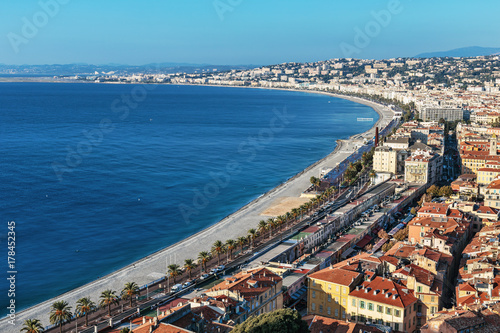 Staande foto Nice A general view of the promenade of Nice from the top point