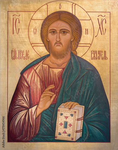 LONDON, GREAT BRITAIN - SEPTEMBER 17, 2017: The icon Jesus Christ the Teacher in church St. Andrew Holborn made in Fraternity of Jesus in Vallechiara (2009). © Renáta Sedmáková