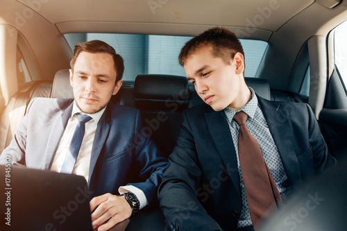 Business People Meeting Working Car Inside Poster
