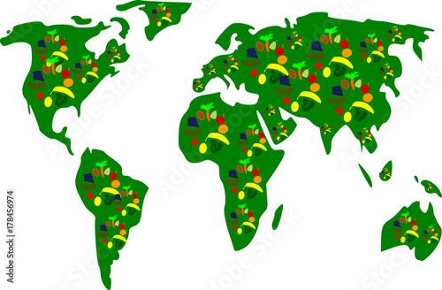 Fotobehang Wereldkaarten Gemüse und Obst auf der Welt verteilt