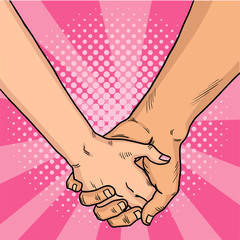 Hands of lovers comic style. Two lovers crossed their arms. Valentine's Day. Pink background. Vintage pop art retro illustration.