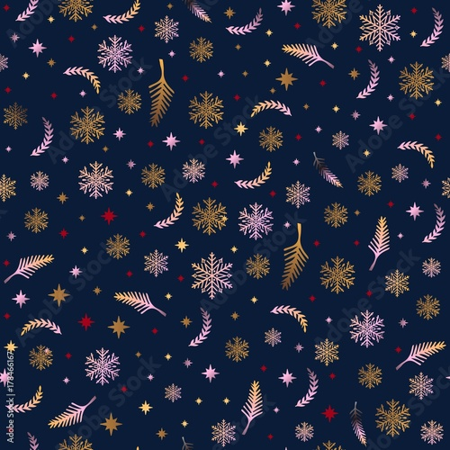 Cotton fabric Christmas ornament. Seamless pattern with decorative Christmas elements. Winter vintage background.