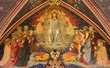 LONDON, GREAT BRITAIN - SEPTEMBER 15, 2017:  The neo gothic Glory of Resurrected Jesus painting on the wood in church All Saints by Ninian Comper (1864 - 1960).
