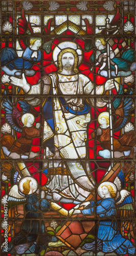 LONDON, GREAT BRITAIN - SEPTEMBER 20, 2017: The Resurrection on the stained glass in church St. Pancras from 19. cent. - 178467799
