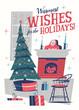 Christmas greeting card. Mid-century style. Vector illustration.