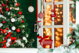 House porch and window decorated for christmas and New Year holiday - 178479940