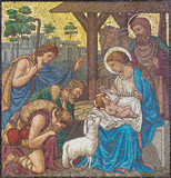 LONDON, GREAT BRITAIN - SEPTEMBER 17, 2017: The mosaic of The Adoration of Shepherds in church St. Barnabas by Bodley and Garner (end of 19. cent.). - 178484512