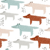 Childish seamless pattern with hand drawn wolf. Trendy scandinavian vector background. Perfect for kids apparel,fabric, textile, nursery decoration,wrapping paper - 178487138