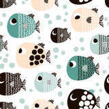 Seamless pattern with cartoon fishes. Scandinavian Childish texture for fabric, textile. Vector background - 178487305