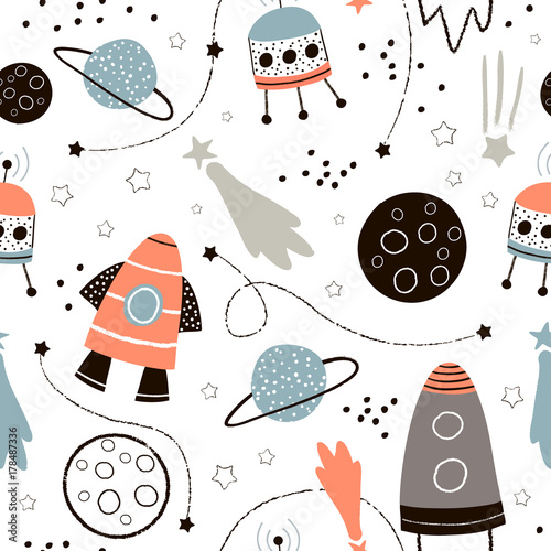 Childish seamless pattern with hand drawn space elements space, rocket, star, planet, space probe. Trendy kids vector background. - 178487336