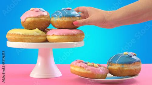 Fotobehang Pop Art Pop Art Colourful Donuts and Bakery Goodies