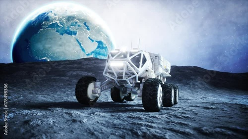 Foto op Canvas UFO Moon rover on the moon. space expedition. Earth background. Super realistic 3d animation.