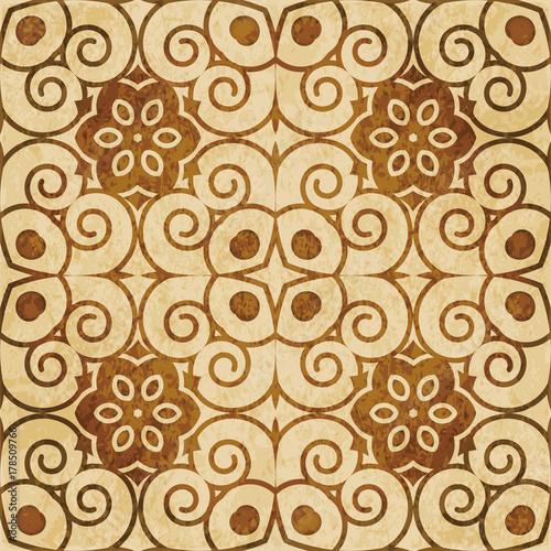 Retro brown watercolor texture grunge seamless background spiral vortex flower kaleidoscope - 178509766