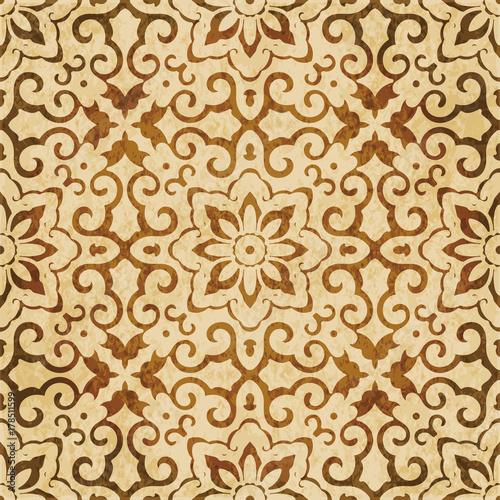 Retro brown watercolor texture grunge seamless background cross spiral frame flower - 178511599