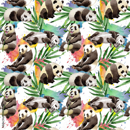 Tropical mix bamboo tree and panda pattern in a watercolor style. Aquarelle wild tree and animal for background, texture, wrapper pattern, frame or border.