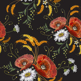 White chamomiles and red poppies embroidery seamless pattern. Beautiful bouquet of chamomiles, poppies classic embroidery seamless background for clothes - 178521521