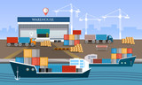 Warehouse and shipping port logistic, shipping and delivery warehouse vector illustration. Sea transportation and logistic