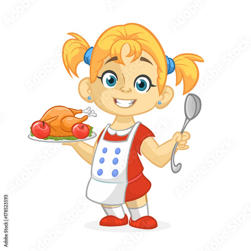 Cartoon cute little blond girl in apron serving roasted thanksgiving turkey dish holding a tray and spoon. Vector illustration isolated. Thanksgiving design - 178523593