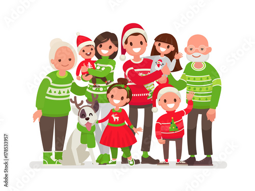 Big happy family at Christmas. Vector illustration in a flat style
