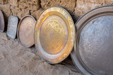 Ancient arabian serving tray for sale at bedouin flea market