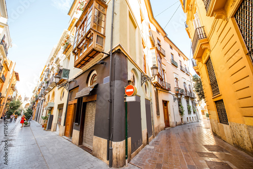In de dag Barcelona View on the beautiful street crossing at the old town of Valencia city in Spain