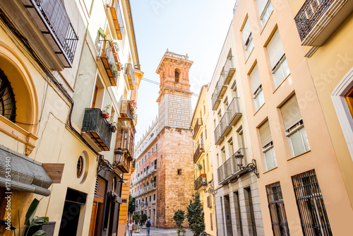 In de dag Barcelona Street view with beautiful old buildings and saint Bartolomeu tower in Valencia, Spain