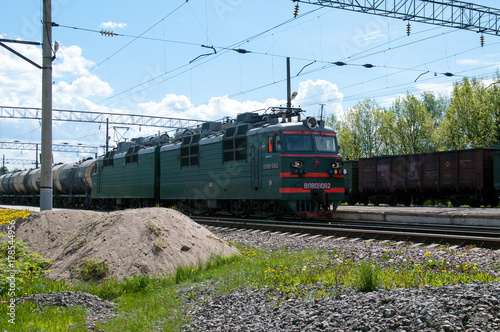 Alternating current electric cargo locomotive VL80S-1062, station Kaduy, Vologda region, Russian Federation