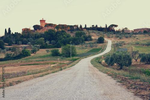 Deurstickers Toscane Summer Tuscany, sunrise. Typical Tuscan landscape, Italy, Europe, image toned.