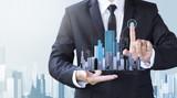 business man create design modern building - 178550122