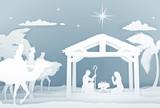 Nativity Christmas Scene Papercraft Style - 178551950