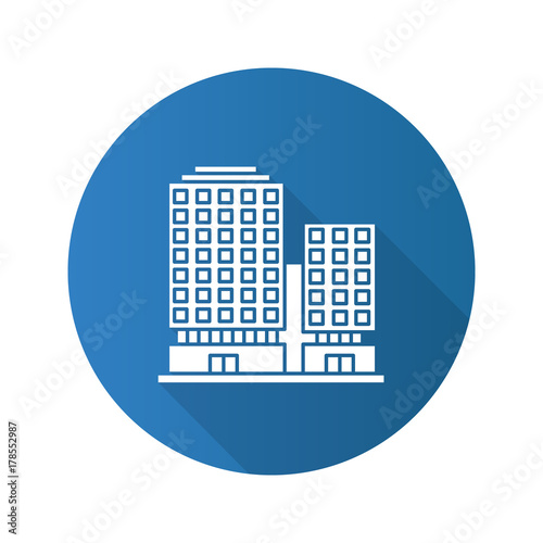 Office Building Flat Design Long Shadow Glyph Icon Buy Photos Ap