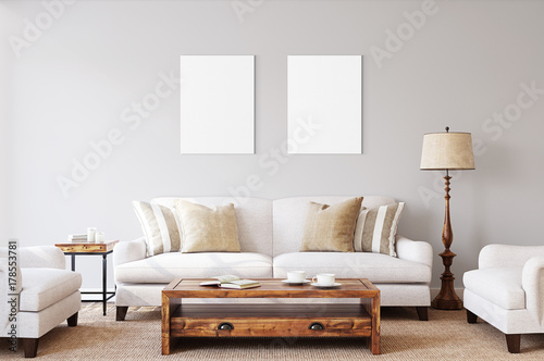 White isolated posters with black frame mockup © Serikov