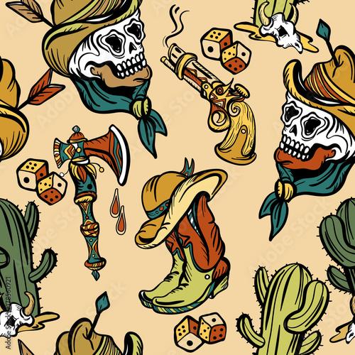 Wild west seamless pattern, old school tattoo vector. Fashionable western set. Cowboy, cactus, guns, wild west background