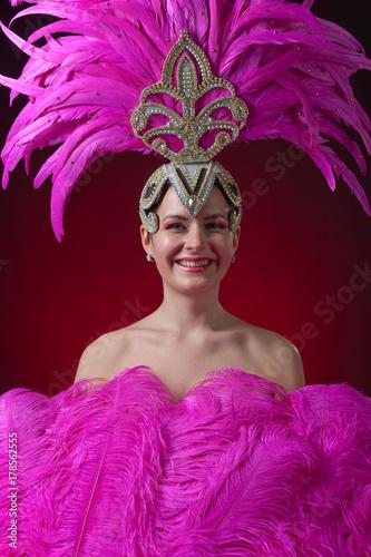 Plakat Beautiful girl in carnival costume .