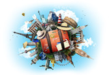 Travel, world landmarks on the background of blue sky