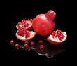 Pomegranate fruit with slices