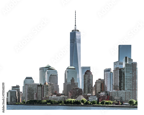 One World Trade Center, landmarks of New York City and high-rise building in Low Poster