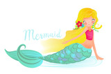 Cute And Beautiful Little Mermaid Sirene  Blond Hairs  Flowers Wreath Blue Glowing Fish Tail And Open Eyes Child's Illustration Mermaid Print   Illustration Wall Sticker