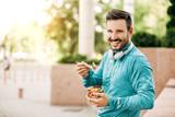Man is eating vegetable salad - 178570393